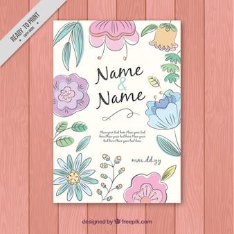 手描きヴィンテージの花の結婚式のカード