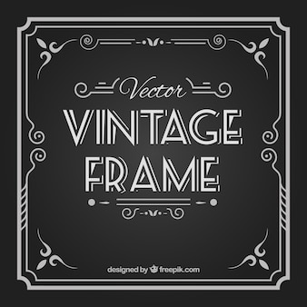 Hand drawn vintage frame on blackboard