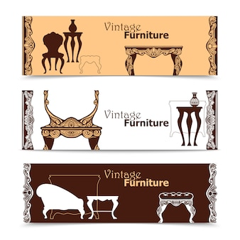 Hand drawn vintage furniture banners