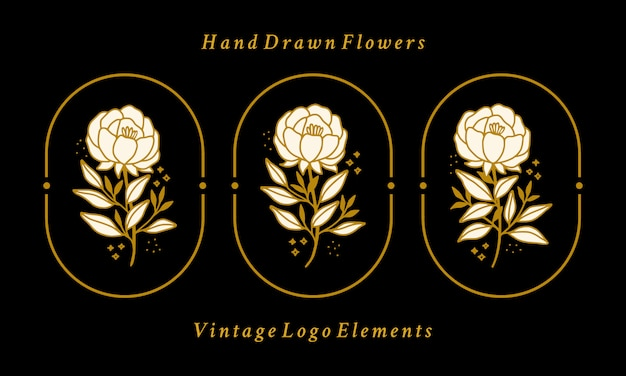 Hand drawn vintage gold botanical peony flower logo element collection