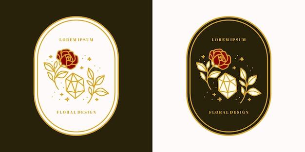 손으로 그린 빈티지 골드 크리스탈, 보석, 잎, 장미 꽃 로고 템플릿 및 여성 뷰티 브랜드 요소