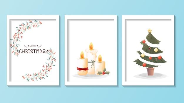 メリークリスマスのための手描きのビンテージグリーティングカード。