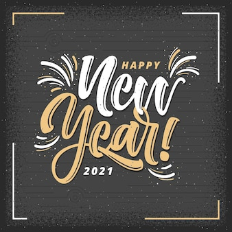 Hand drawn vintage happy new year lettering background