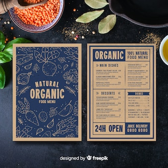 Hand drawn vintage healthy menu template