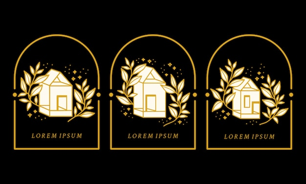 Hand drawn vintage home and botanical floral logo element collection