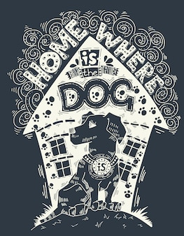 Hand drawn vintage illustration with hand-lettering about pet.