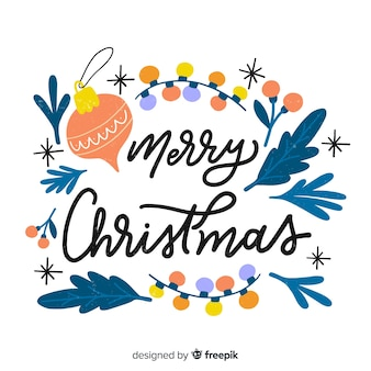 Hand drawn vintage merry christmas lettering
