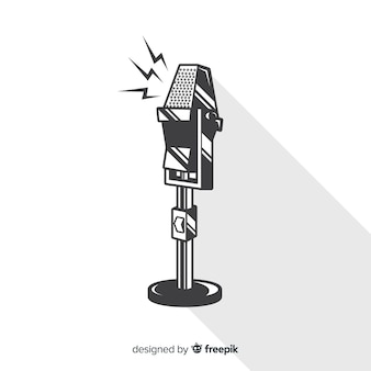 Hand drawn vintage microphone