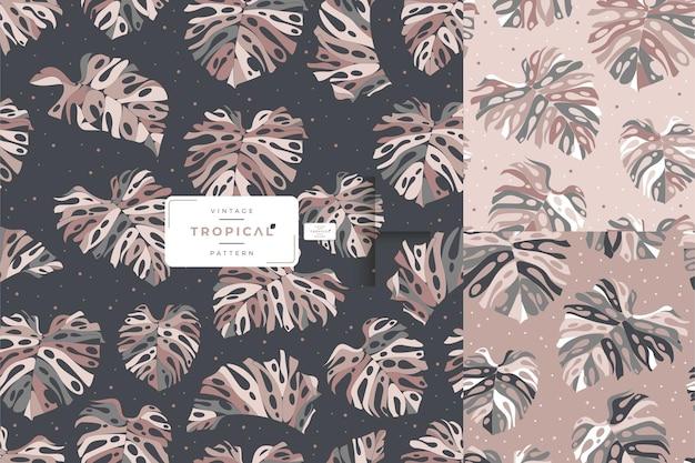 Нарисованный рукой винтажный дизайн шаблона листьев монстеры