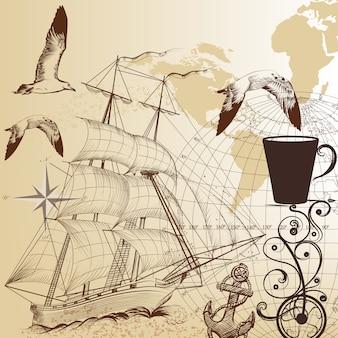Hand drawn vintage nautical background