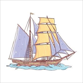 Hand drawn vintage old ship design