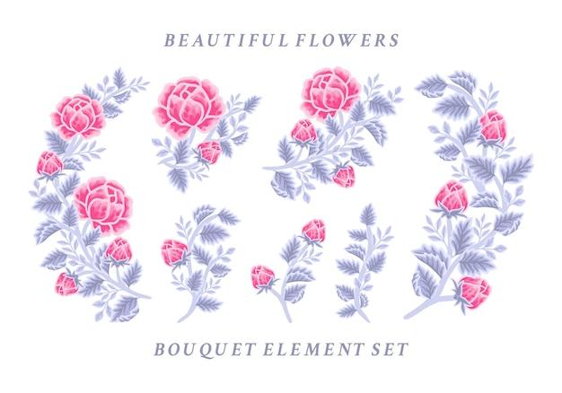 Ручной обращается старинные розовые и фиолетовые розы цветочная композиция и коллекция элементов букета