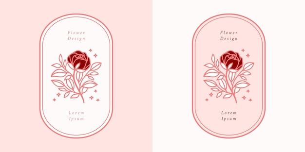 Нарисованный рукой винтажный шаблон логотипа цветка розовой ботанической розы и набор элементов бренда женской красоты