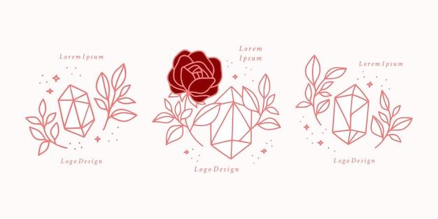 Hand drawn vintage pink botanical rose flower logo template, crystal, gem, and feminine beauty brand element collection