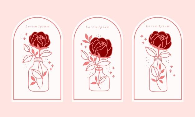 Нарисованный рукой винтажный шаблон логотипа цветка розовой ботанической розы, банка, бутылки и коллекции элементов бренда женской красоты
