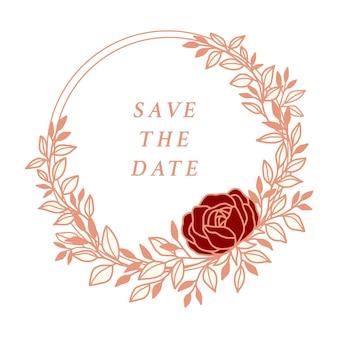Hand drawn vintage pink botanical rose flower wedding wreath and leaf branch elements