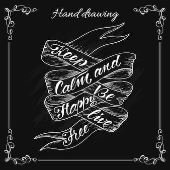Hand drawn vintage ribbon banner