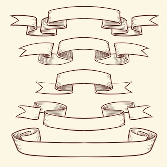 Hand drawn vintage ribbon banners isolated. design vector elements in engraved style
