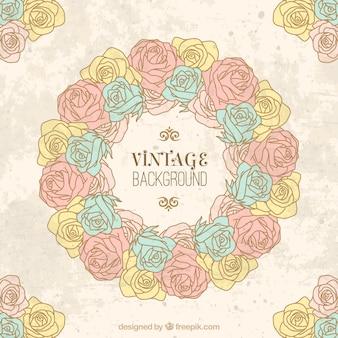 手描きヴィンテージのバラは背景を花輪