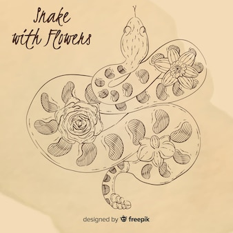Hand drawn vintage snake with flowers background