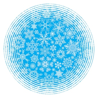 Hand-drawn vintage snowflakes in the circle on blue background.
