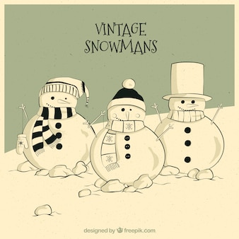 Hand drawn vintage snowmen card