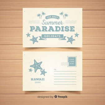 Hand drawn vintage summer postcard template