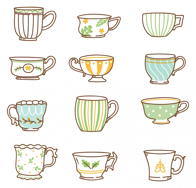 Hand drawn vintage tea cups set
