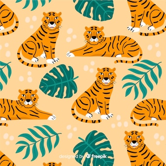 Hand drawn vintage tiger pattern