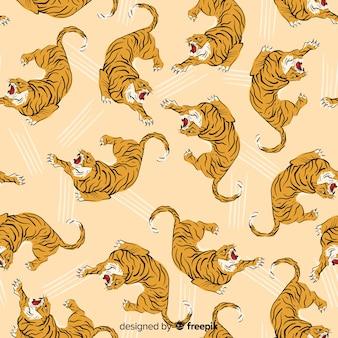 Hand drawn vintage tiger pattern