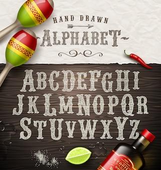 Рука нарисованные старинный шрифт - старый шрифт стиль мексиканской вывески.