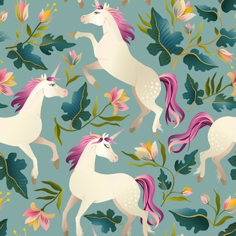 Hand drawn vintage unicorn in magic forest seamless pattern.
