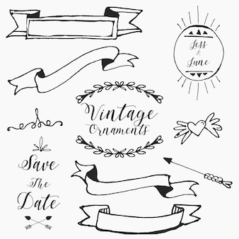 Hand drawn vintage wedding ornaments pack