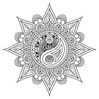 Hand drawn of vintage yin and yang in mandala style