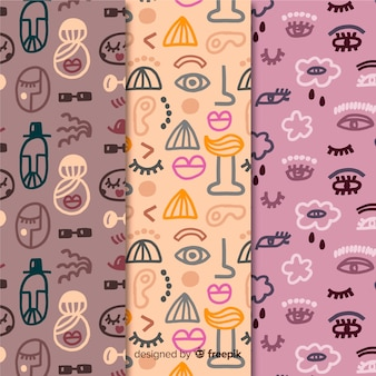 Hand drawn violet and pink abstract pattern collection