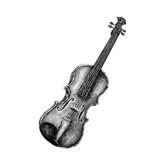 손으로 그린 바이올린 흰색 배경에 고립