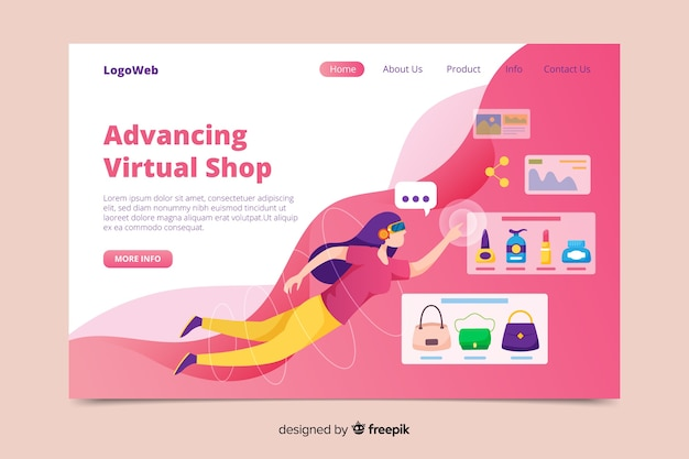 Hand drawn virtual reality landing page