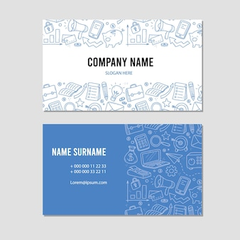 Hand drawn visit card of business and finance elements