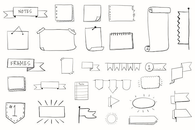 手描きの視覚的思考要素セット