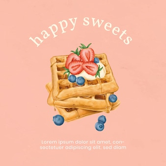 Hand drawn waffles instagram ad template