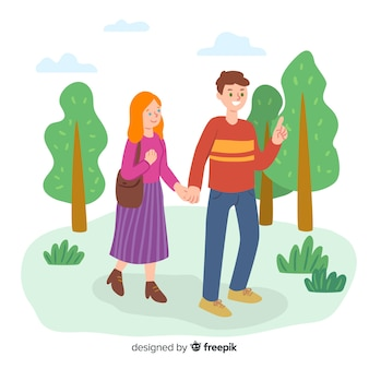 Hand drawn walking outdoors background