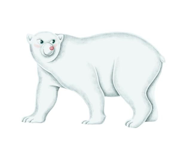 Hand-drawn walking white polar bear