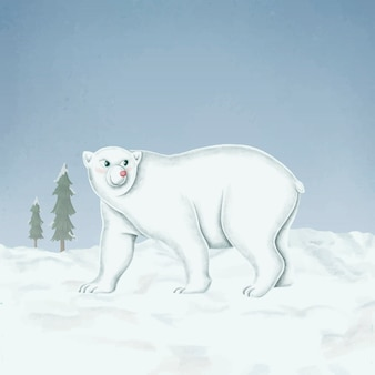 Hand-drawn walking white polar bear