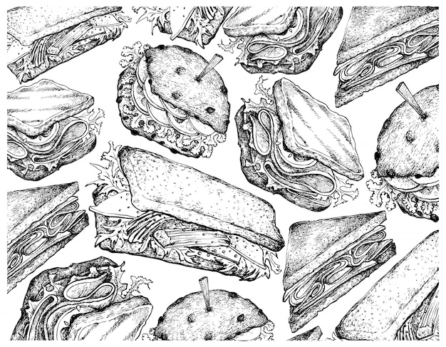 Hand drawn wallpaper background of various sandwiches