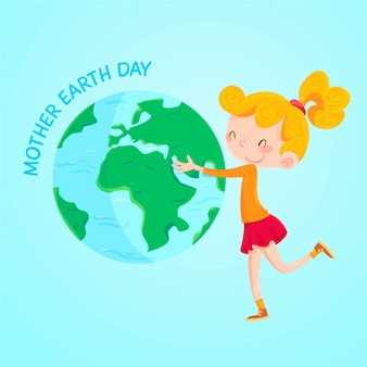 Hand drawn wallpaper mother earth day