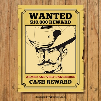 Hand-drawn wanted poster of criminal in vintage style