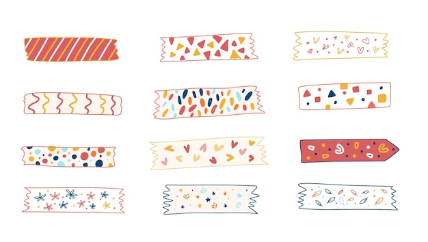Коллекция рисованной ленты васи