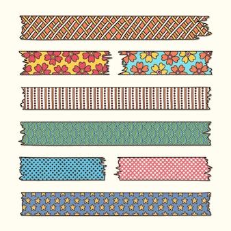 Collezione di nastri washi disegnati a mano