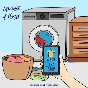 Ручная стиральная машина и мобильный фон