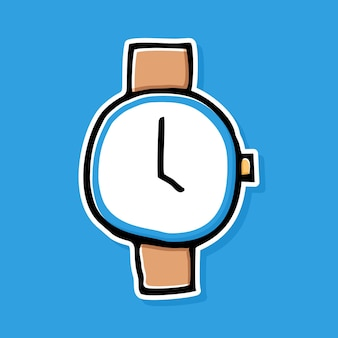 手描きの時計の漫画のデザイン